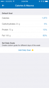 Changing MyFitnessPal goal settings on the iOS app