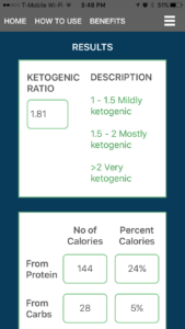 Ketogenic ratio - output from KetoCalc app